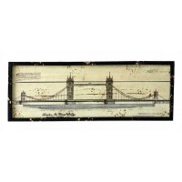 Quadro,targa,quadretto in legno con immagine Tower Bridge,Londra,Union jack,shabby