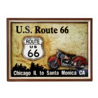 Tabella pub,bar in legno con rilievo,route 66 US