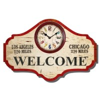 Orologio Legno Vintage Welcome Los Angeles Chicago